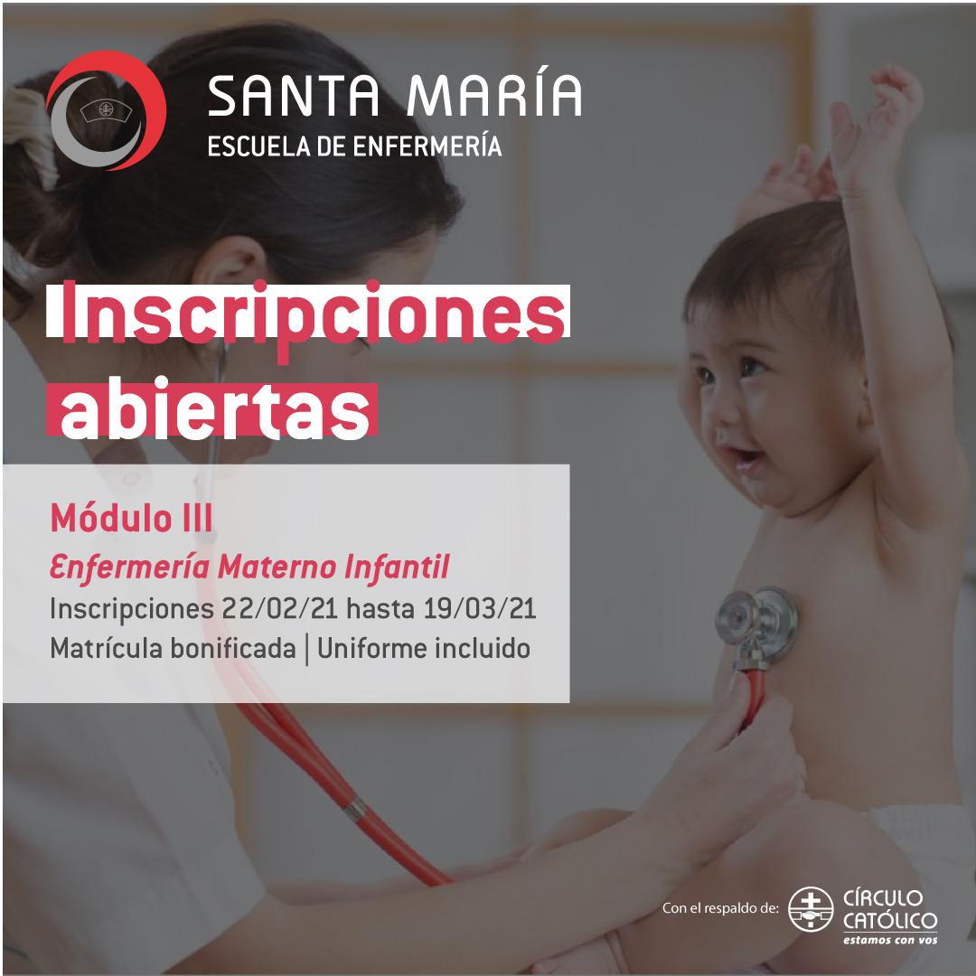 Inscripciones abiertas: Enfermería Materno Infantil del curso Auxiliar de Enfermería Integral